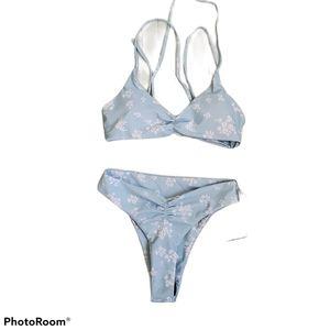 Zaful 2 piece light blue print bikini size small